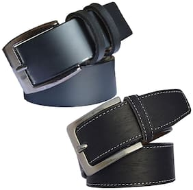 Sunshopping men's black leatherite needle pin point buckle belt size from 28 to 38 (pack of two)