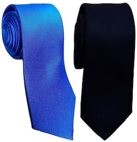 Sunshopping men's red and navy blue Microfiber narrow tie (pack of-2)