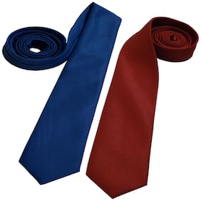Sunshopping men's maroon and royal blue Microfiber narrow tie (pack of-2)