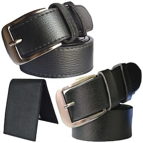 Sunshopping men's black leatherite needle pin buckle belt with black color bifold synthetic leather wallet size from 28 to 38 (pack of 3)