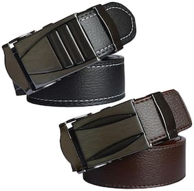 Sunshopping Men'S Black And Brown Leatherite Auto Lock Buckle Belts Combo