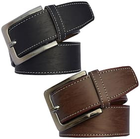 Sunshopping Men Black & Brown Synthetic leather Belt (Size: 36 , Pack of 2 )