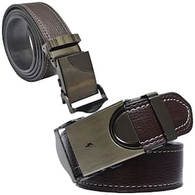 Sunshopping men's brown leatherite auto lock buckle belt size from 28 to 42 (pack of two)