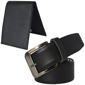 Sunshopping men's black leatherite needle pin point buckle belt with black color bifold synthetic leather wallat size from 28 to 38 (combo)