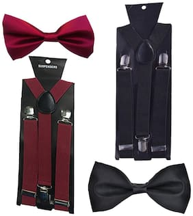 Sunshopping men's black and maroon elastic adjustable suspender with bow tie (pack of two)