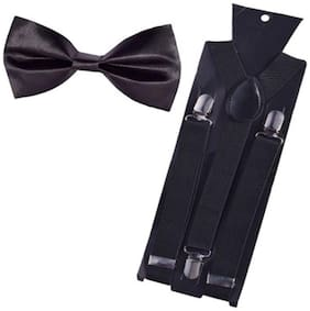 Sunshopping men's black elastic adjustable suspender with bow tie (pack of one)