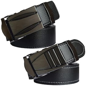 Sunshopping men's black leatherite auto lock buckle belt size from 28 to 42 (pack of two)