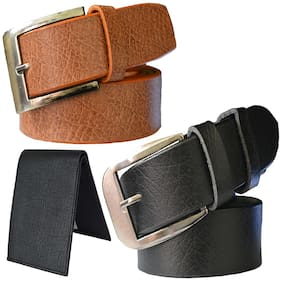 Sunshopping men's tan and black leatherite needle pin buckle belt with black color bifold synthetic leather wallet size from 28 to 38 (pack of 3)