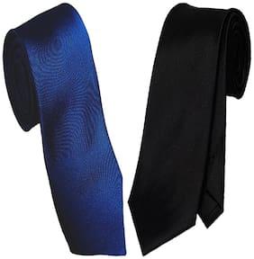 Sunshopping men's black and navy blue Microfiber narrow tie (pack of-2)