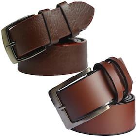 Sunshopping Men Brown Synthetic leather Belt (Size: 34 , Pack of 2 )