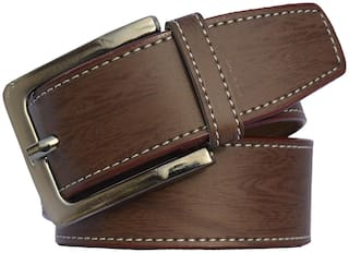 Sunshopping men's brown leatherite needle pin point buckle belt (size from 28 to 38)