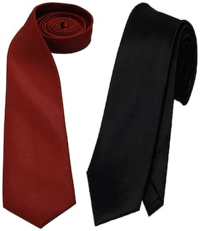 Sunshopping men's maroon and black Microfiber narrow tie (pack of-2)