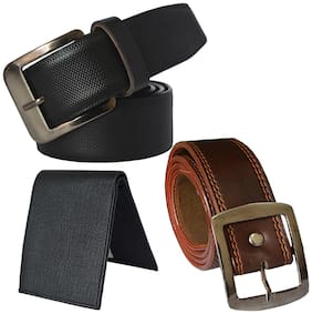 Sunshopping men's black and brown leatherite needle pin buckle belt with black color bifold synthetic leather wallet size from 28 to 38 (pack of 3)
