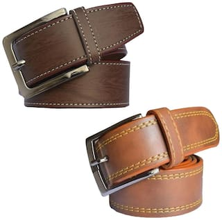 Sunshopping men's brown and tan leatherite needle pin point buckle belt size from 28 to 38 (pack of two)