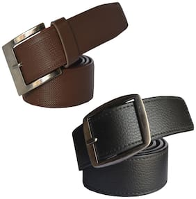 Sunshopping men's Balck and Brown Leatherite belts combo