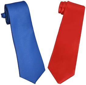Sunshopping men's red and royal blue Microfiber narrow tie (pack of-2)
