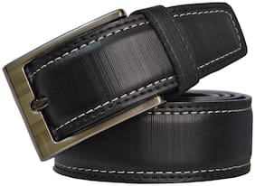 Sunshopping men's black leatherite needle pin point buckle belt (size from 28 to 38)
