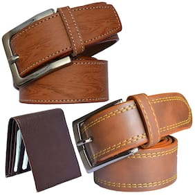 Sunshopping men's tan leatherite needle pin buckle belt with brown color bifold synthetic leather wallet size from 28 to 38 (pack of 3)