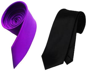 Sunshopping men's purple and black Microfiber narrow tie (pack of-2)