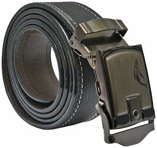 Sunshopping men s black leatherite auto lock buckle belt (size from 28 to 42 )