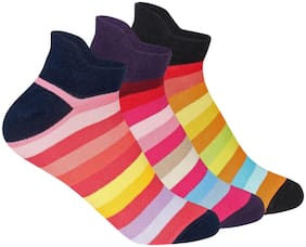Supersox Women Compact Combed Cotton Sneaker Length Design Socks Pack Of 3