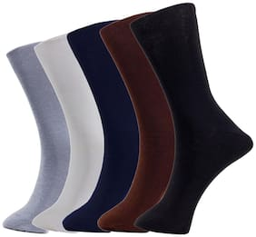 Tadd Men's (Formal Socks) Full Length Socks (also known or wearable as Mid Calf Length Socks) With Cotton Fabric (PACK OF 5)