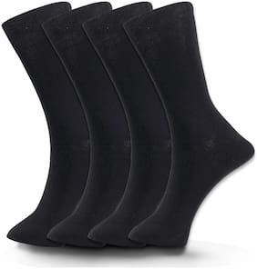 Tadd Men's (Formal Socks) Full Length Socks (also known or wearable as Mid Calf Length Socks) With Cotton Fabric (PACK OF 4)