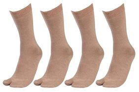 Tahiro Beige Cotton Full Length Thumb Socks - Pack Of 4