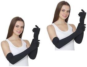 Tahiro Black Cotton Arm Sleeve Gloves - Pack Of 2