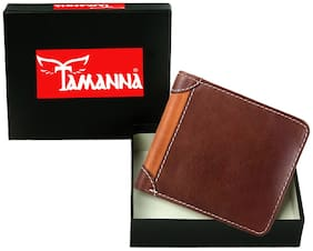 Tamanna Men Brown, Tan Genuine Leather Wallet  (3 Card Slots)