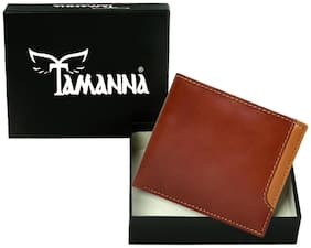 Tamanna Men Brown & Tan Leather Bi-Fold Wallet ( Pack of 1 )