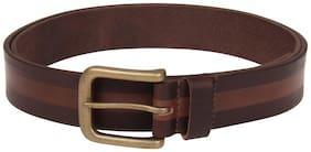 Tan-Brown color Strip Roller designed men leather belt
