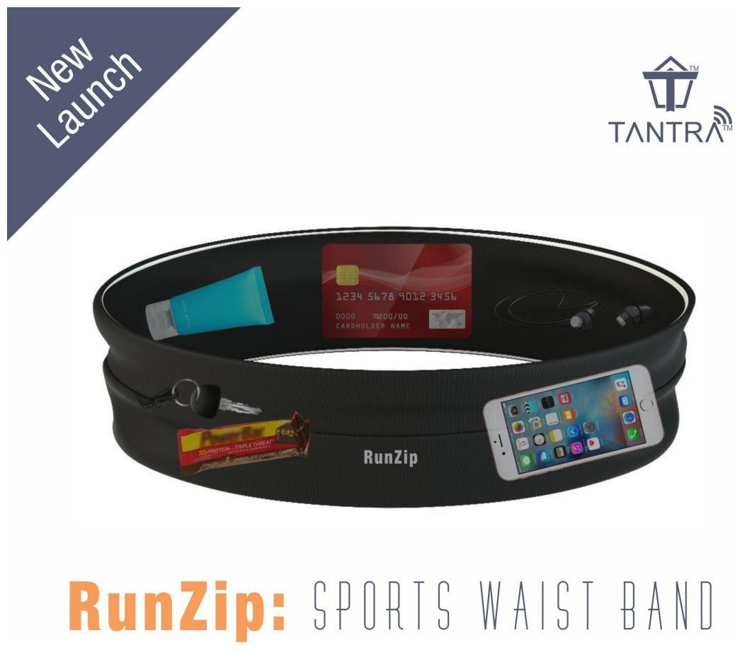 Tantra RunZip: Sports Waist Band, Running Belt, Gym Mobile Pouch, Workout Waist Belt For Men and Women  In 4 Sizes: S, M, L, XL  by New World Tech