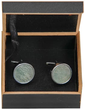 Teal Colored Classic Chrome Plated Cufflinks for Men in Gift Box