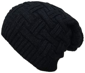 TECH VILLA Beanie for Men Skull Slouchy Winter Woolen Knitted Black Inside Fur Mens Caps;Freesize