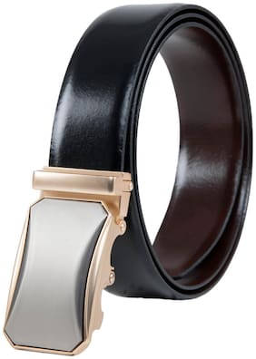 The Armanto Textured Reversible Formal Belt with Golden Buckle