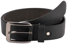 The Black Patterened Formal Leather Belt