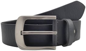 The Black Textured Genuine Leather Casual Belt