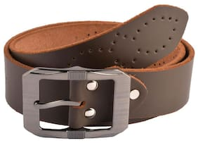 The Brown Solid Punched Holes Designer Casual Leather Belt
