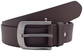 The Brown Textured Genuine Leather Casual Belt