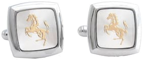 The Jewelbox Formal Shirt Square Silver With Gold Horse Cufflinks Pair Boys Men Gift Box