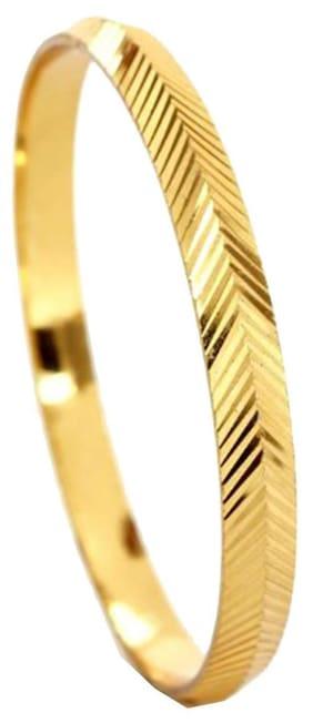ZIVOM Laser Large V Nakshi 22K Gold Plated Brass Punjabi Sardarji Sikh Kada Bangle For Men