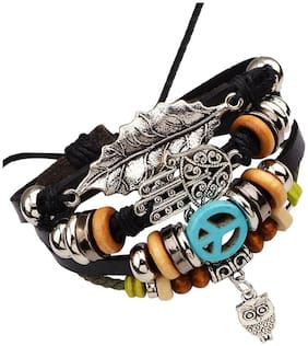The Jewelbox Men Genuine Leather Bracelets - Multi