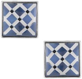 ZIVOM Formal Shirt Glossy Square Checks Blue Silver Brass Cufflinks Pair Boys Men Gift Box