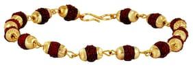 ZIVOM Rudraksh Beads 22k Gold Plated Brass Bracelet