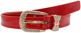 The Red Belt with Stoned Buckle and Bow Loop