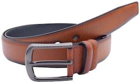 The Tan Crossline Textured Formal Belt