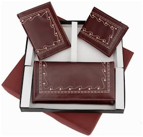 Three-In-One Brown Embroidery Leatherette Ladies Wallet, Gents Wallet and a Passport Holder Gift Set - Diwali Gift