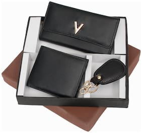 Three-In-One Black Sheep Leather Gents Wallet, Ladies Wallet & Key Chain Gift Set - Diwali Gift Box