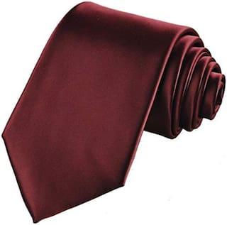 TIE Men Silk Regular Long Tie - Maroon